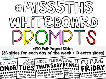 190 Classroom Community Prompts FULL PAGE Slides (#Miss5th