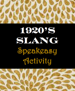 1920's Speakeasy Slang Activity