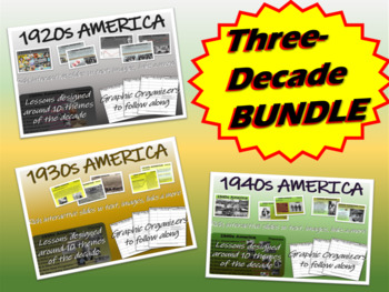 U.S. HISTORY 1920s, 1930s, 1940s 3-unit bundle 51, 51, & 4