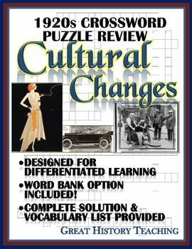 1920s Crossword Puzzle Review: Cultural & Lifestyle Change