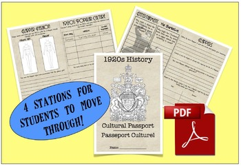 CHC2P CHC2D 1920's Cultural Passport (Stations)