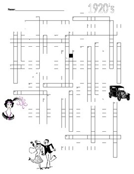 1920's Crossword Puzzle U.S. History Honors/A.P. Level