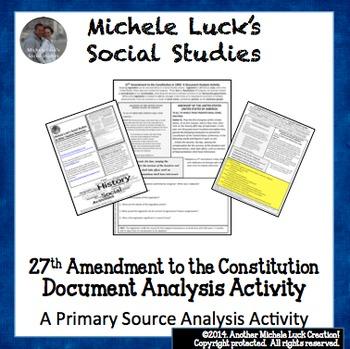 1992 27th Amendment to Constitution Document Analysis Acti