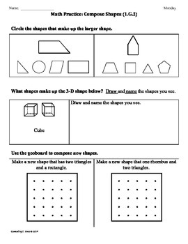 (1.G.2) Compose Shapes -1st Grade Common Core Math Workshe