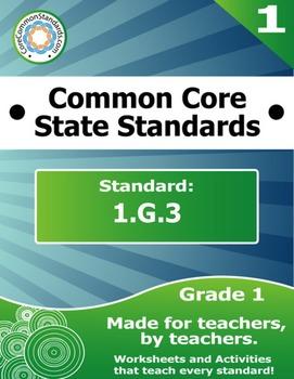 1.G.3 First Grade Common Core Bundle - Worksheet, Activity