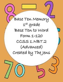 1.NBT.2- Base Ten Picture to Word Memory - Advanced