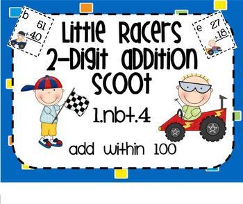 1.NBT.4 Adding 2 Digit Numbers Little Racers SMARTBoard Le