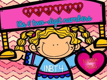 1.NBT.4 Valentines Task Cards Adding 10s and two digit numbers