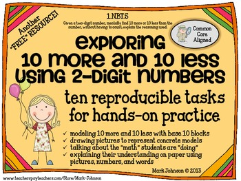 1.NBT.5  10 More and 10 Less  {Ten FREE Hands-On Printable Tasks}