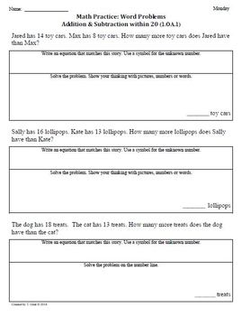 (1.OA.1) Word Problems -1st Grade Common Core Math Workshe