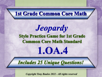 1.OA.4 1st Grade Math Jeopardy Game Subtraction As An Unkn