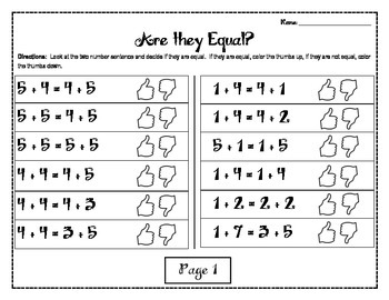 1.OA.7 Are they Equal Center Game and Worksheets