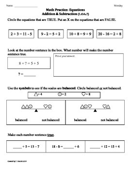 (1.OA.7) Equations -1st Grade Common Core Math Worksheets-