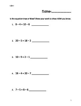 1.OA.7 Independent Practice Worksheet