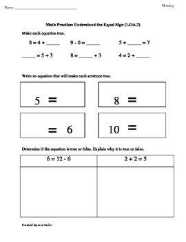 1.OA.7 Understand the Equal Sign First Grade Common Core M