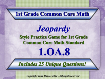 1.OA.8 1st Grade Math Jeopardy Game - Determine The Unknow