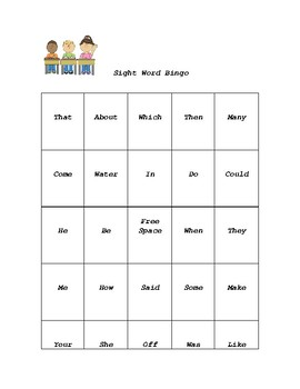 1st 100 Frys Sight Word Bingo