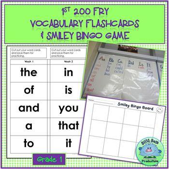 FRY VOCABULARY CARDS +Smiley Bingo Game 1st 200