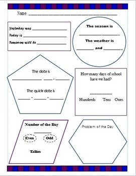 1st-2nd Calendar Graphic Organizer