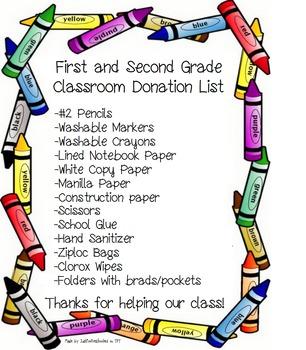 1st & 2nd Grade Classroom Donation List