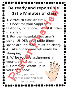 "1st 5 Minutes of Class (16""x20"") Printable Poster"