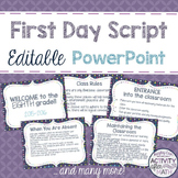 First Day Script in an Editable PowerPoint! Introduce Clas