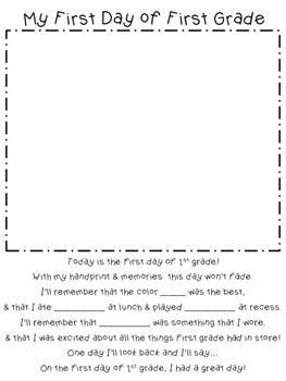 1st Day of School Handprint Poem