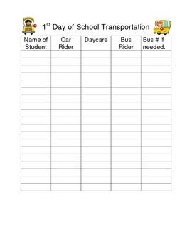 1st Day of School Transportation Form