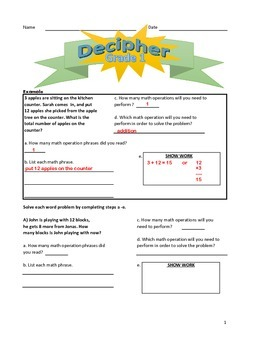 1st Grade 1 step word problems