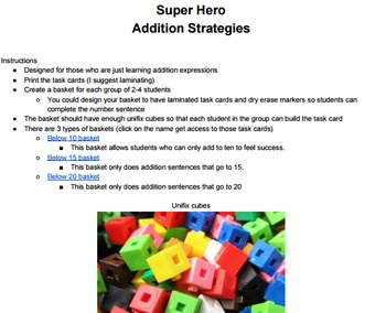 1st Grade Addition Strategies with Unifix Cubes