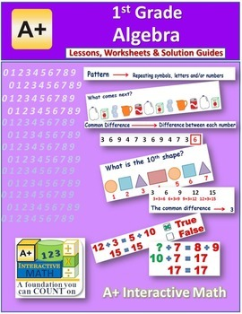 1st Grade Algebra (Lessons, Worksheets and Solution Manuals)