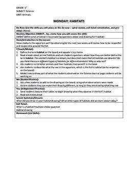 1st Grade Animals Unit: Lesson Plans and Assessment