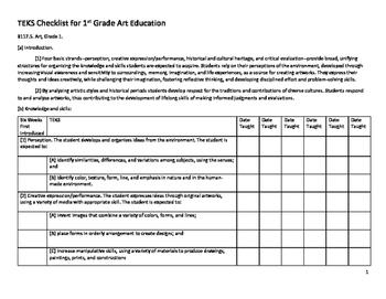 1st Grade Arts TEKS Checklist