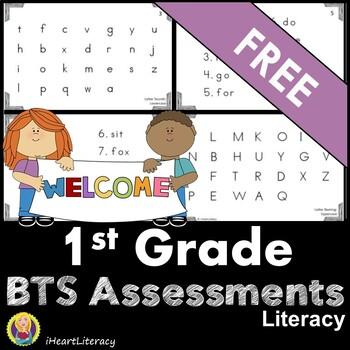 1st Grade Back to School Baseline Reading Assessments FREE
