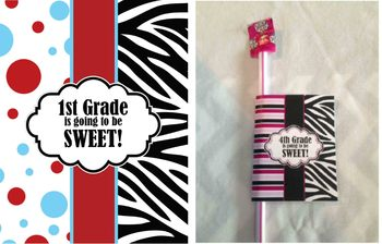 1st Grade Back to School Gift - printable - Zebra, Red and Blue