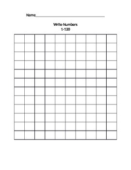 1st Grade Blank 1 to 120 grid chart