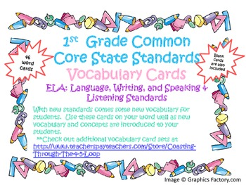 1st Grade CCSS ELA Vocabulary Cards