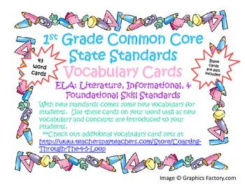 1st Grade CCSS ELA Vocabulary Cards Set 1