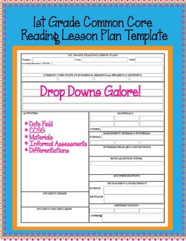 1st Grade CCSS Lesson Plan Template