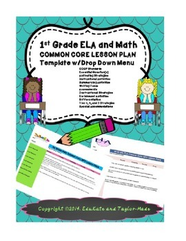 TKES 1st Grade COMMON CORE Lesson Plan Template-ELA and Math