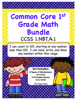 1st Grade Common Core Counting to 120 Math Bundle