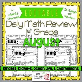 Math Morning Work 1st Grade August Editable