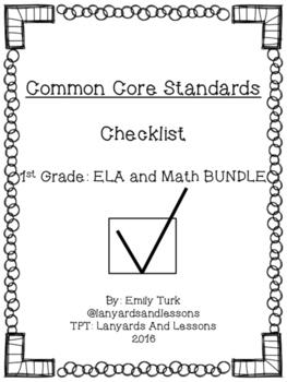 1st Grade Common Core: ELA and Math BUNDLE Checklist