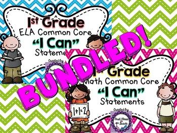"1st Grade Common Core ELA & Math ""I Can"" Statements (Chevron)"