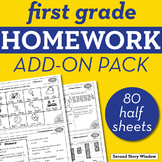 1st Grade Math & ELA Homework Add-On Pack Bundle