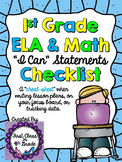 "1st Grade Common Core ""I Can"" Checklist (Ink Saver)"