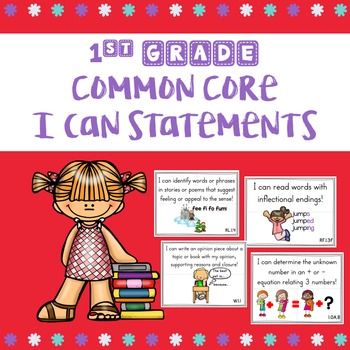 1st Grade Common Core I Can Statements with Visuals