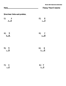 1st Grade Common Core Math Benchmark Assessment