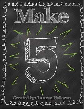 1st Grade Common Core Math Center Make Five