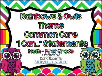 "1st Grade Common Core Math ""I Can"" Statements - Rainbows &"